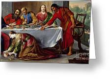 Christ In The House Of Simon The Pharisee Greeting Card by Claude Vignon