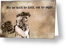 Christian Faith Girl Angel With Praying Hands Greeting Card by Kathy Fornal