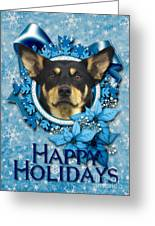 Christmas - Blue Snowflakes Australian Kelpie Greeting Card by Renae Laughner