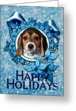 Christmas - Blue Snowflakes Beagle Puppy Greeting Card by Renae Laughner