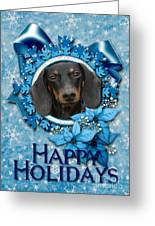 Christmas - Blue Snowflakes Dachshund Greeting Card by Renae Laughner