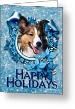 Christmas - Blue Snowflakes Sheltie Greeting Card by Renae Laughner