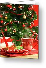 Christmas Cookies  Near The  Tree Greeting Card by Sandra Cunningham