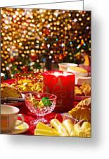 Christmas Table Set Greeting Card by Carlos Caetano