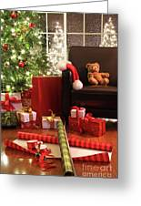 Christmas Tree With Gifts Greeting Card by Sandra Cunningham