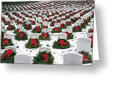 Christmas Wreaths Adorn Headstones Greeting Card by Stocktrek Images
