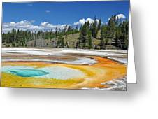 Chromatic Pool Yellowstone National Park Greeting Card by Bruce Gourley
