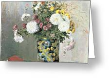 Chrysanthemums In A Chinese Vase Greeting Card by Camille Pissarro