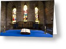Church And Open Bible, Holy Island Greeting Card by John Short