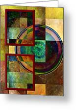 Circles And Squares Triptych Left Side Greeting Card by Rosy Hall