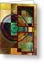 Circles And Squares Triptych Right Greeting Card by Rosy Hall