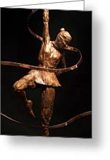 Citius Altius Fortius Olympic Art Gymnast Over Black Greeting Card by Adam Long