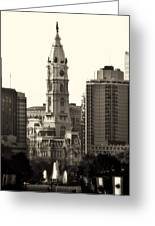 City Hall From The Parkway - Philadelphia Greeting Card by Bill Cannon