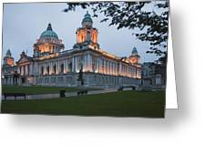 City Hall Illuminated Belfast, County Greeting Card by Peter Zoeller