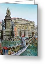 City Of Milan In Italy Under Water Greeting Card by Fabrizio Cassetta