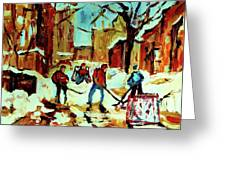 City Of Montreal Hockey Our National Pastime Greeting Card by Carole Spandau