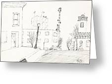 City Street - Sketch Greeting Card by Robert Meszaros