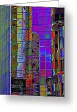 City Windows Abstract Pop Art Colors Greeting Card by Phyllis Denton