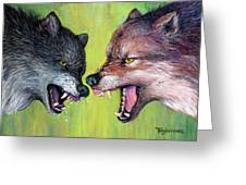 Clash Of The Alphas Greeting Card by Tanja Ware