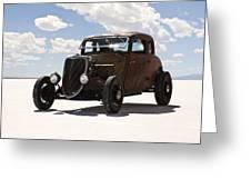 Classic Hotrod On Utah Salt Flats. Greeting Card by Paul Edmondson