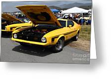 Classic Yellow Ford Mustang Mach 1 7d15277 Greeting Card by Wingsdomain Art and Photography
