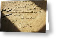 Close-up Of Emancipation Proclamation Greeting Card by Todd Gipstein