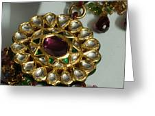 Close Up Of The Gold And Diamond Setting Of A Large Necklace Greeting Card by Ashish Agarwal