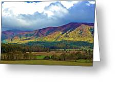 Cloud Covered Peaks Greeting Card by DigiArt Diaries by Vicky B Fuller