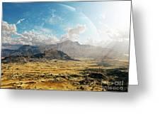 Clouds Break Over A Desert On Matsya Greeting Card by Brian Christensen