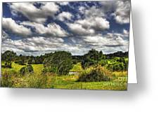 Clouds Floating Over Green Countryside Greeting Card by Kaye Menner