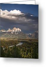 Clouds Over The Tetons Greeting Card by Andrew Soundarajan