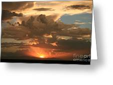 Cloudy Orange Sunset Greeting Card by Cassandra Lemon