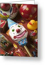 Clown Rattle And Old Toys Greeting Card by Garry Gay