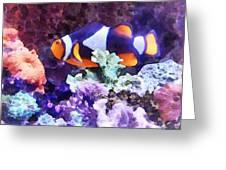 Clownfish And Coral Greeting Card by Susan Savad