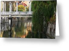 Cobblers Bridge And Morning Reflections In Ljubljana Greeting Card by Greg Matchick