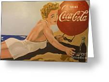 Coca Cola  Vintage Sign Greeting Card by Bob Christopher