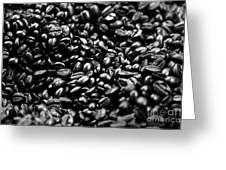 Coffee Beans Bw Greeting Card by Balanced Art