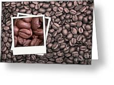 Coffee Beans Polaroid Greeting Card by Jane Rix