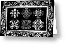 Coffee Flowers Ornate Medallions Bw 6 Piece Collage Framed  Greeting Card by Angelina Vick