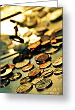 Coins Greeting Card by HD Connelly