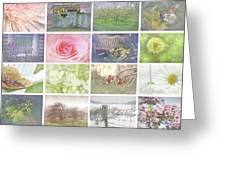Collage Of Seasonal Images With Vintage Look Greeting Card by Sandra Cunningham