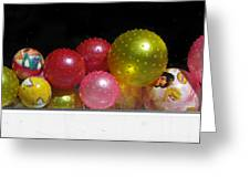 Colorful Balls In The Shop Window Greeting Card by Ausra Paulauskaite