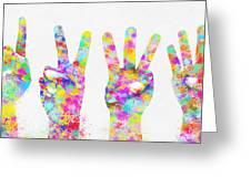 Colorful Painting Of Hands Number 0-5 Greeting Card by Setsiri Silapasuwanchai