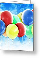 Colorful Party Celebration Balloons In Sky Greeting Card by Angela Waye