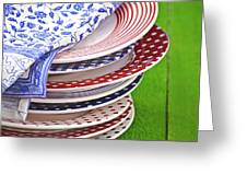 Colorful Plates Greeting Card by Joana Kruse