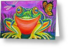Colorful Smiling Frog-voodoo Frog Greeting Card by Nick Gustafson
