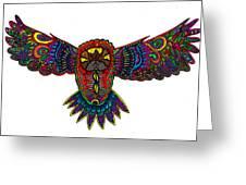 Coloured owl Greeting Card by Karen Elzinga