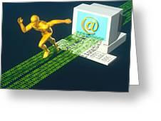 Computer Artwork Of E-mail As A Sprinter Greeting Card by Laguna Design