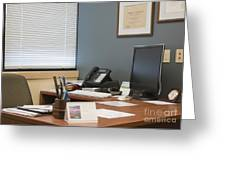 Computer Monitor And Office Space Greeting Card by Andersen Ross