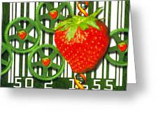 Conceptual Image Of Genetically-engineered Fruit Greeting Card by Victor Habbick Visions